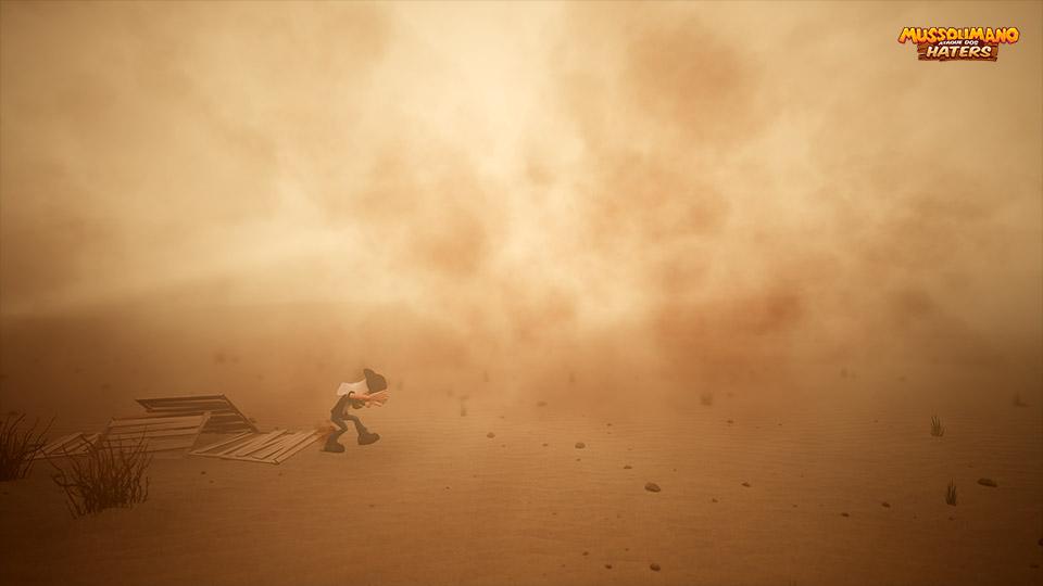 Mussoumano na tempestade de areia